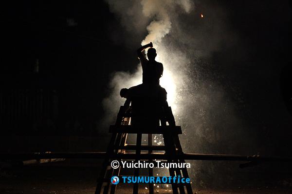 手筒花火の撮影